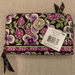 Vera Bradley Turn Lock Wallet Plum Petals NWT